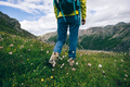 Successful woman backpacker hiking on alpine mountain top - PhotoDune Item for Sale