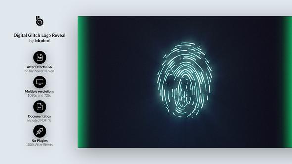 Digital Glitch Logo Reveal