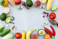 Flat lay with different food, organic vegetables, bio fruits, berries, nuts - PhotoDune Item for Sale