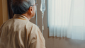 Senior grandfather hospitalized sit on hospital bed in patient room. - PhotoDune Item for Sale
