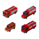 Isometric Fire Truck Illustrated On White Background - GraphicRiver Item for Sale