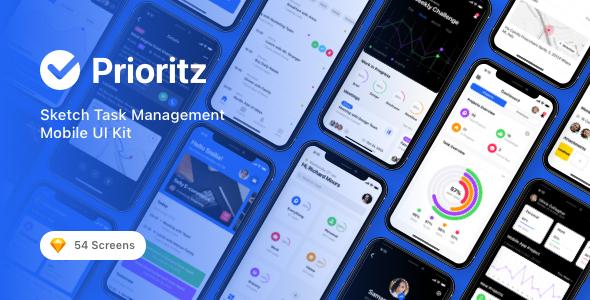 Download Prioritz - Sketch Task Management Mobile UI Kit Nulled