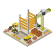 Isometric Building Under Construction Illustrated On White Background - GraphicRiver Item for Sale