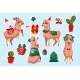 Set of Stickers with New Year Llama Vicuna Animal - GraphicRiver Item for Sale