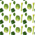 Seamless pattern with green vegetables on white background - PhotoDune Item for Sale
