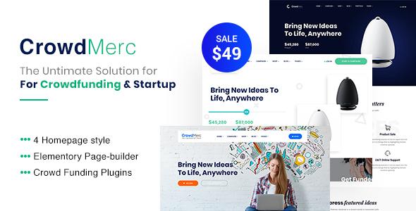 Crowdmerc - Crowdfunding Startup Fundraising WordPress Theme