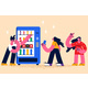 Buying Food in Grocery Machine Concept - GraphicRiver Item for Sale
