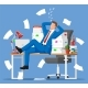 Business Man Character Sleep in Bunch of Papers - GraphicRiver Item for Sale