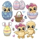 Set with Eggs and Cute Cartoon Chickens - GraphicRiver Item for Sale