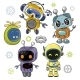 Cute Cartoon Robots on a White Background - GraphicRiver Item for Sale