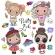 Cute Cartoon Girls and Design Elements - GraphicRiver Item for Sale