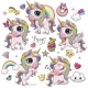 Cute Cartoon Unicorns Isolated  - GraphicRiver Item for Sale