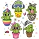 Cartoon Cactus with Eyes on the White Background - GraphicRiver Item for Sale