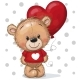 Teddy Bear in a Red Sweater with a Red Balloon - GraphicRiver Item for Sale