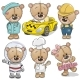 Set of Teddy Bears Isolated on a White Background - GraphicRiver Item for Sale