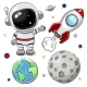 Space Set of Astronaut Rocket and Planets - GraphicRiver Item for Sale