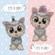Cartoon Dogs Yorkshire Terrier Boy and Girl - GraphicRiver Item for Sale