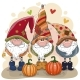 Cute Cartoon Gnomes with Two Pumpkins - GraphicRiver Item for Sale
