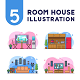 5 Room House Illustration - GraphicRiver Item for Sale