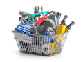 Car parts and auto spare in shopping basket isolated on white. - PhotoDune Item for Sale