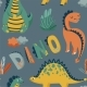 Cute Dinosaurs Seamless Vector Pattern with Bright - GraphicRiver Item for Sale