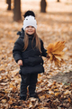 Lovely little girl with bunch of autumnal leaves - PhotoDune Item for Sale