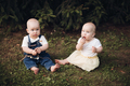 Young babies on the grass in the forest - PhotoDune Item for Sale
