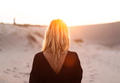 rear view of blonde beautiful woman at sunset or sunrise - PhotoDune Item for Sale