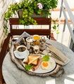 Breakfast with fried egg, ham, toasts and coffee on silver tray - PhotoDune Item for Sale