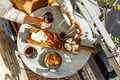 Cheese plate with soft cheese, fruit sauce and red wine - PhotoDune Item for Sale