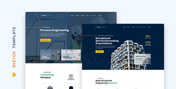 Download Axial – Construction Company Template for Sketch Nulled