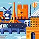 Paris city colorful flat design style - GraphicRiver Item for Sale