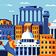 Rome City Colorful Flat Design Style - GraphicRiver Item for Sale