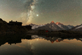 Incredible night view of Lac Blanc lake in France Alps - PhotoDune Item for Sale