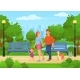 Cartoon Happy Family with Kids Walking in City - GraphicRiver Item for Sale