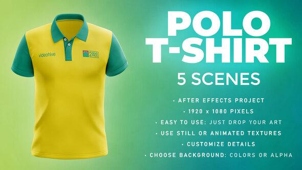 Polo T-shirt - 5 Scenes Mockup Template - Animated Mockup PRO
