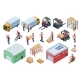 Isometric Warehouse Logistics Delivery Workers - GraphicRiver Item for Sale