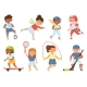 Cartoon Happy School Children Playing Sports  - GraphicRiver Item for Sale