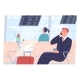 Businessman Sits at the Airport and Talks  - GraphicRiver Item for Sale