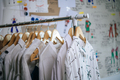 Beautiful lady fashion clothes on hanger in workshop - PhotoDune Item for Sale