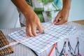 Close up hand of female designer use measure tape - PhotoDune Item for Sale