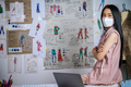 Young fashion designer wearing mask during work in tailor shop - PhotoDune Item for Sale