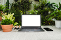 Laptop computer and smartphone arrange on table with houseplant - PhotoDune Item for Sale