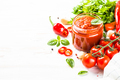 Tomato sauce with herbs and spices at white background - PhotoDune Item for Sale