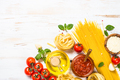 Italian food background at white bkitchen table - PhotoDune Item for Sale