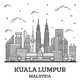Outline Kuala Lumpur Malaysia City Skyline with Modern Buildings Isolated on White. - GraphicRiver Item for Sale