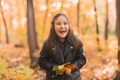 Asian child girl laughing and playing in the autumn on the nature walk outdoors - PhotoDune Item for Sale