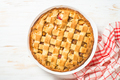 Apple pie with ginger and cinnamon at white wooden table - PhotoDune Item for Sale