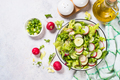Green salad with fresh leaves, radish, cucumber and ollive oil - PhotoDune Item for Sale