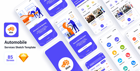 Download Alox - Automobile Services Sketch Template Nulled